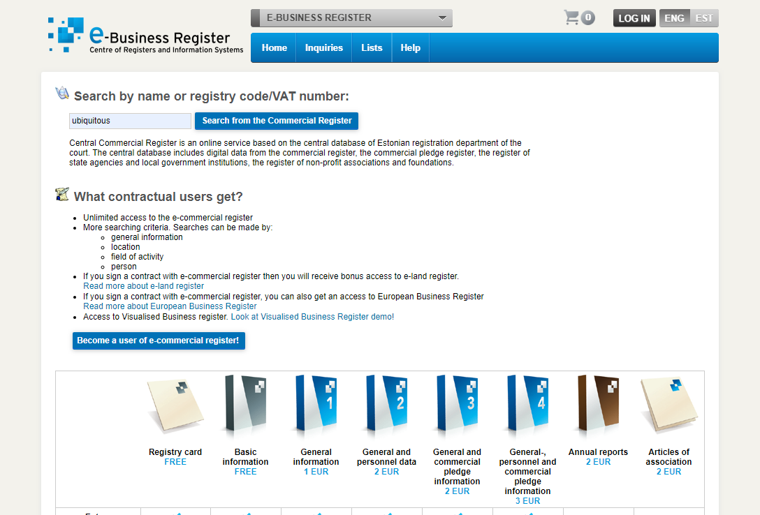 e-business register page